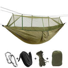 Load image into Gallery viewer, Portable Hammock with Mosquito Net - Army Green