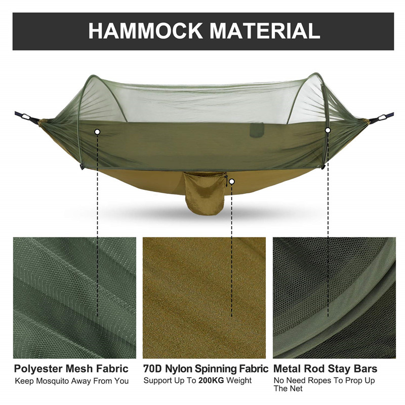 Portable Hammock with Mosquito Net - Army Green