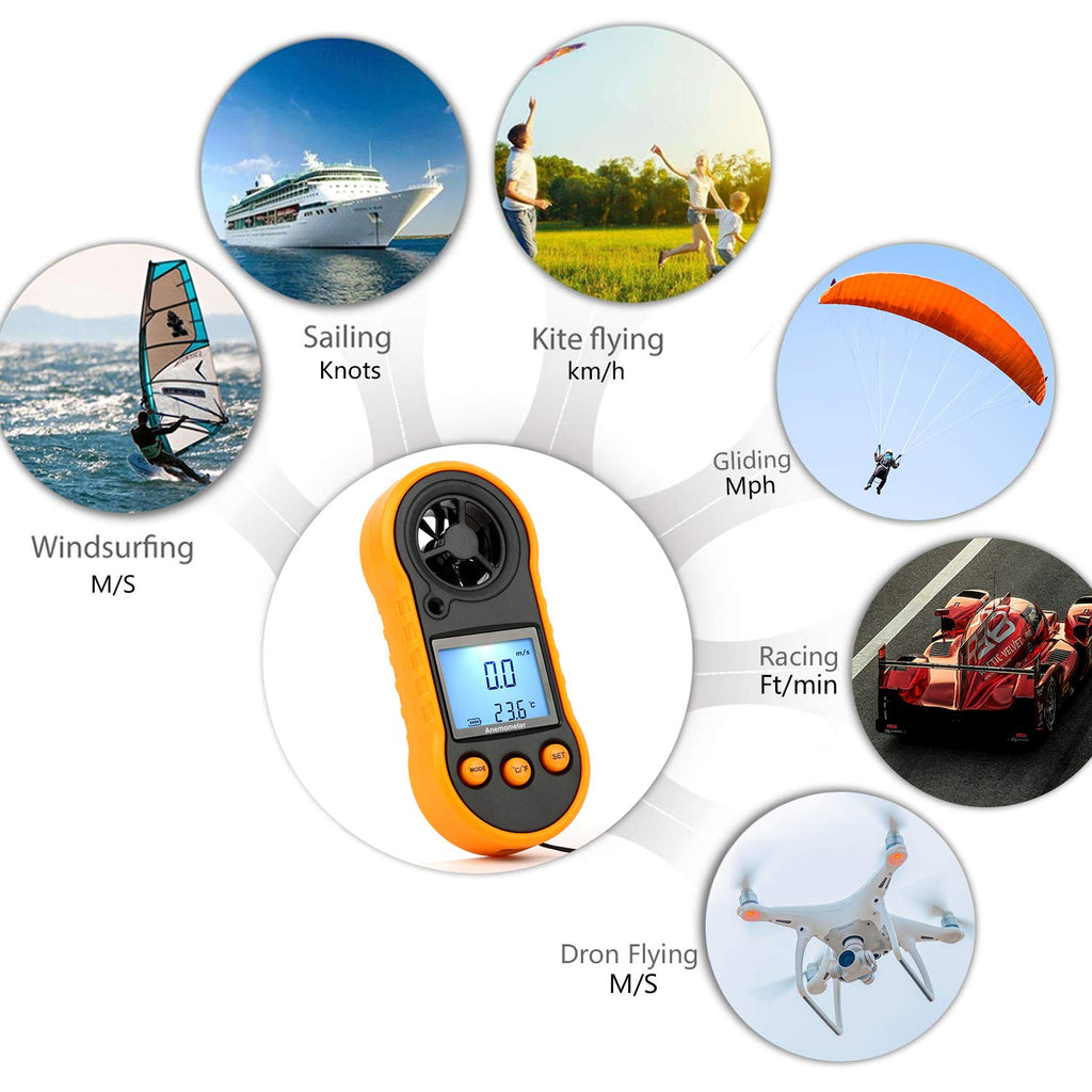 Handheld Pocket Anemometer Wind Speed Meter & Gauge Wind Meter Detector