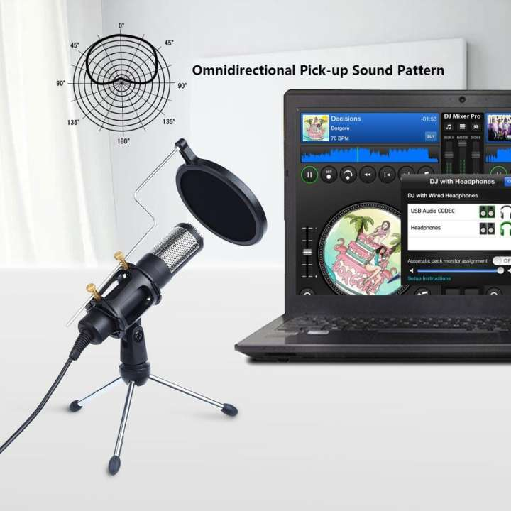 Techme Professional USB Microphone with Stand & Condenser