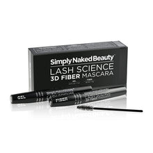 Load image into Gallery viewer, 3D Fiber Lash Mascara by Simply Naked Beauty. Waterproof, lengthening voluminous, on lashes all day. Best and highest rated 3D and 4D gel and fiber formula. Non toxic, hypoallergenic, Natural. Black