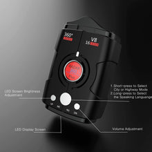 Load image into Gallery viewer, V8 360°degree Full-Band-Scanning Voice Radar Detector