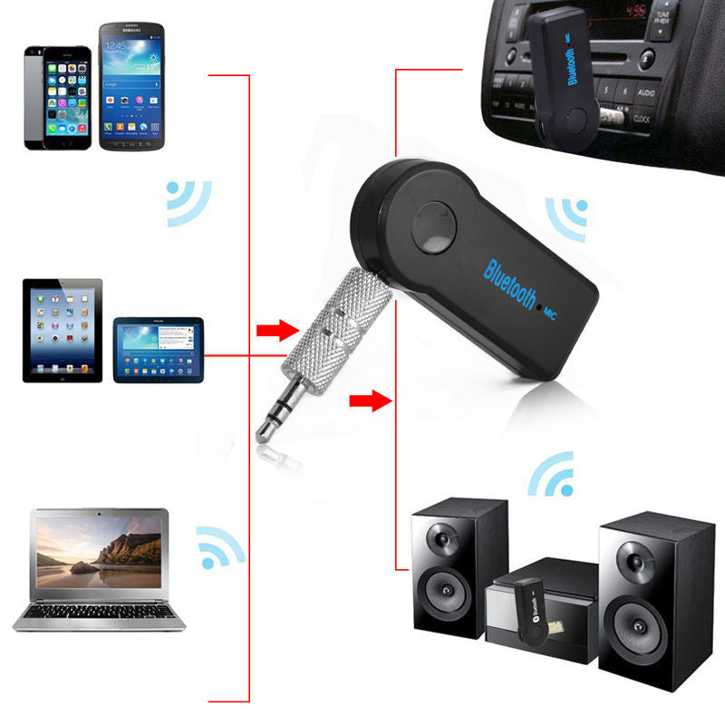 Bluetooth 3.5mm Audio Receiver Adapter with Hands Free Microphone A2DP - Awesome Imports - 2
