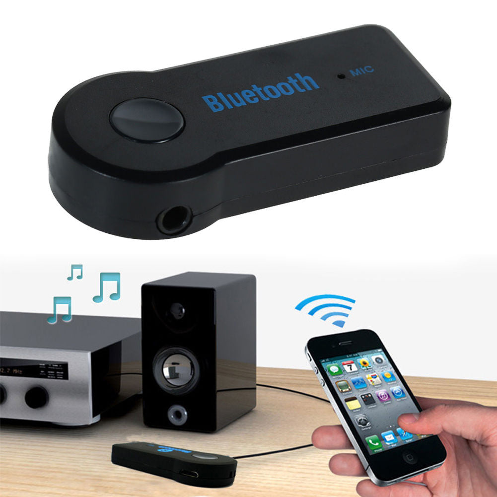 Bluetooth 3.5mm Audio Receiver Adapter with Hands Free Microphone A2DP - Awesome Imports - 1