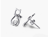 925 Sterling Silver Cat Earrings Crystal Stud Earrings