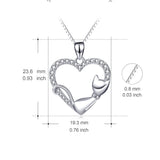925 Sterling Silver Crystal CZ Love Heart Pendant Necklace Cute Lying Cat Hollow Jewelry