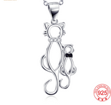 925 Sterling Silver Mother With Baby Lovely Cat Pendant Necklace