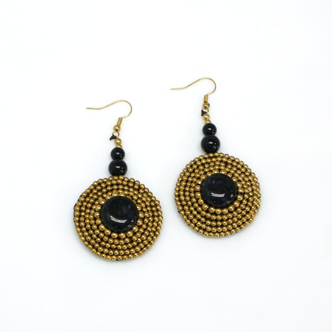 Handmade  Crochet Earring with Brass Beads round Stone (MIX02)