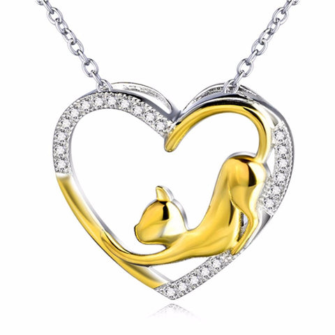 925 Sterling Silver Gold Plated Cat Heart Pendant Necklace
