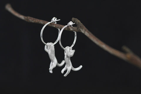 925 sterling silver cute kung fu cat stud earrings