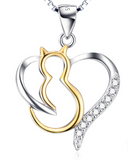 925 Sterling Silver CZ Crystal Gold Plated Kitty Cat Heart Pendant Fashion Necklace
