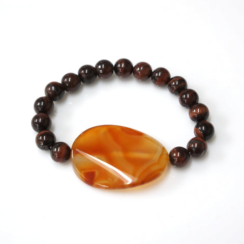 Handmade Red Tiger Eye 8 mm Decorated with Agate Stone