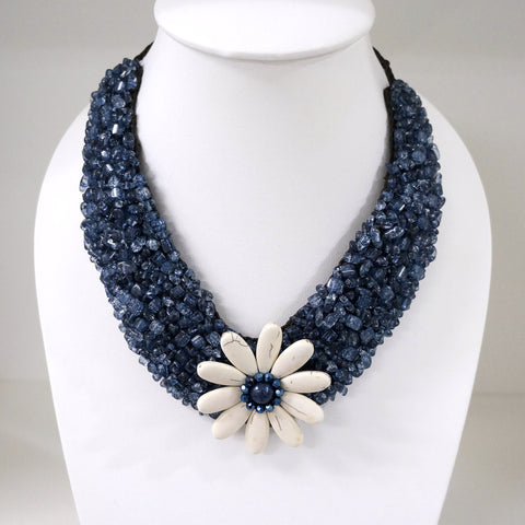 Handmade Flower V-Shaped Necklace (Navy Blue)