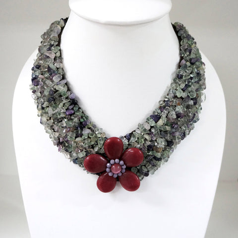 Handmade Flower V-Shaped Necklace (Fluorite)