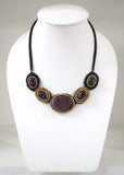 Handmade Crochet Necklace with Agate Pendant (MIX01)