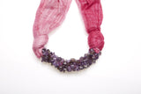 Handmade Pink Two Tone Scarf Decorated With Amethyst