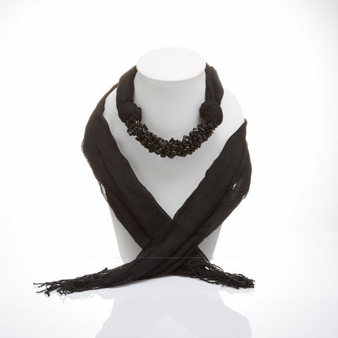 Handmade Black Scarf Decorated With Onyx