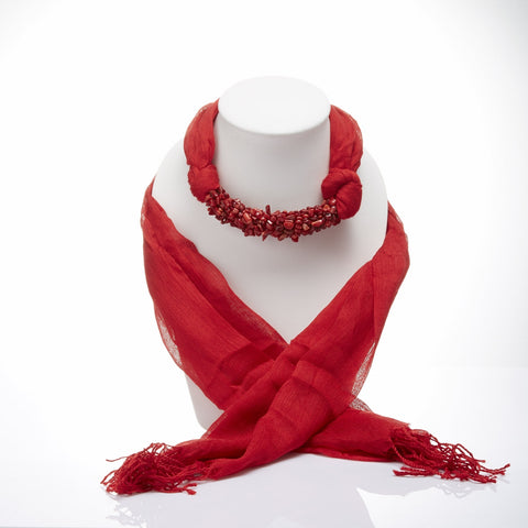 Handmade Red Scarf Decorated With Red Coral