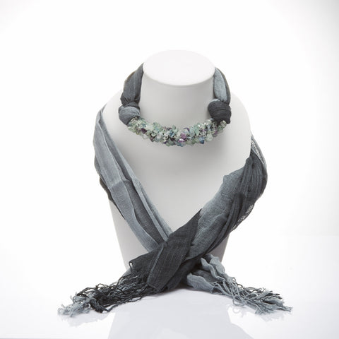 Handmade Gray Two Tone Scarf Decorated With Fluorite
