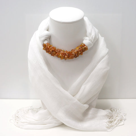 Handmade White Scarf Decorated With Carnelian