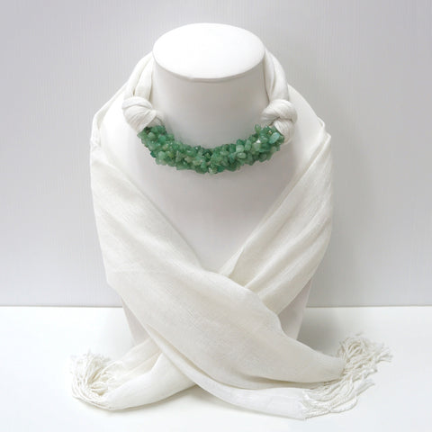 Handmade White Scarf Decorated With Green Jade