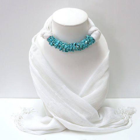 Handmade White Scarf Decorated With Turquoise