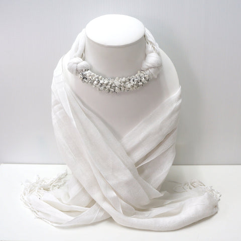 Handmade White Scarf Decorated With White Howlite