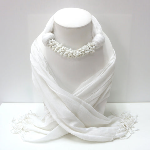 Handmade White Scarf Decorated With White Stone
