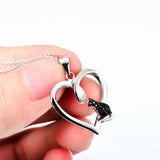925 Sterling Silver Jewelry Heart Shape CZ Black Cat Pendant Necklace