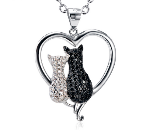 925 Sterling Silver Jewelry Black White Crystal Cat Pendant Necklaces
