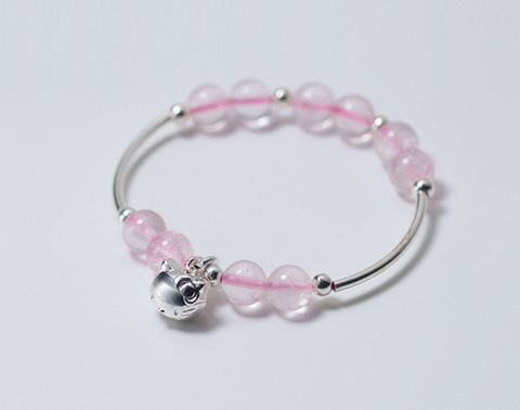 925 Sterling Silver Cute Cat and Crystal Pink Bracelet