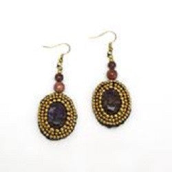 HANDMADE CROCHET EARRING WITH BRASS BEADS ROUND STONE