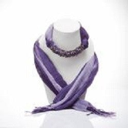 HANDMADE PURPLE TWO TONE SCARF DECORATED WITH AMETHYST