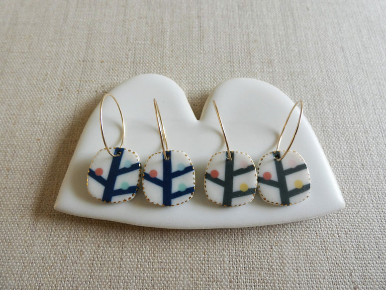 Twig Ceramic Hoop Earrings