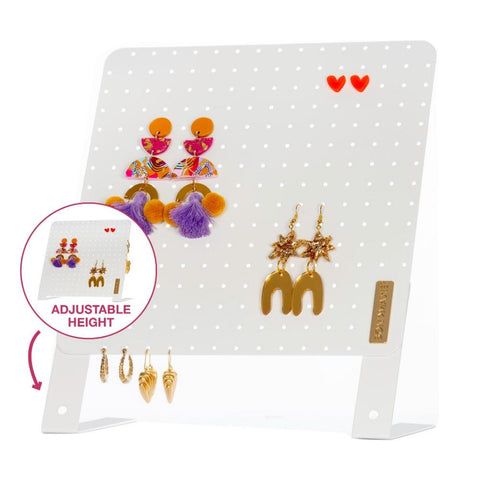 Height Adjustable Earring Holder - WHITE