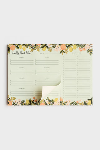 RIFLE PAPER CO - WEEKLY MEAL PLANNER NOTEPAD - CITRUS FLORAL