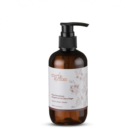 HAND & BODY WASH ROSE GERANIUM, GRAPEFRUIT & CLARY SAGE