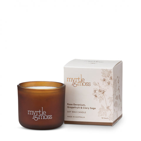 MINI SOY WAX CANDLES ROSE GERANIUM, GRAPEFRUIT & CLARY SAGE