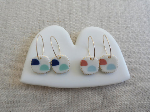 Island Drop Ceramic Hoop Earrings