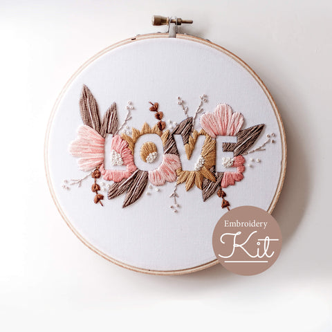 LOVE Embroidery Kit – Soft Palette