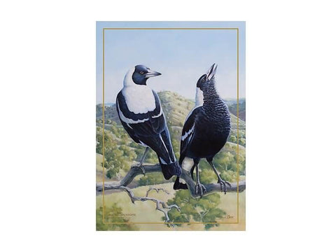 Birds of Australia 10 year Anniversary Tea Towel 50x70cm Magpie