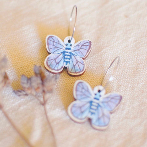 Grass Blue Butterly Earrings