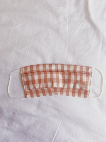 ADULT FACE MASK // Linen Pink + White Check // Linen outer, Soft cotton mask.