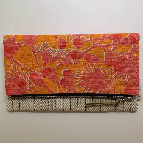 Gum Blossom Pink Orange || Fold Over Large Clutch