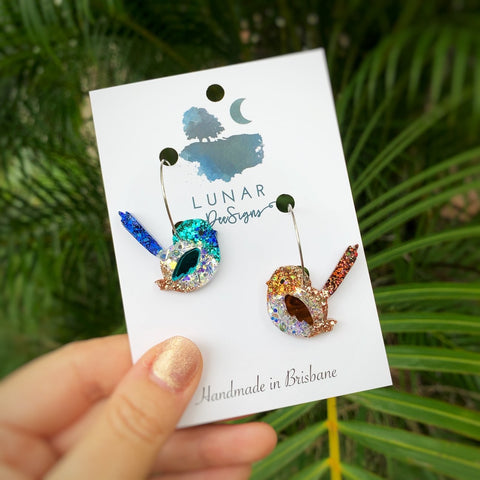 PRE ORDER Sid + Sally the Superb Fairy Wren Hoops - Dispatch from 26th April