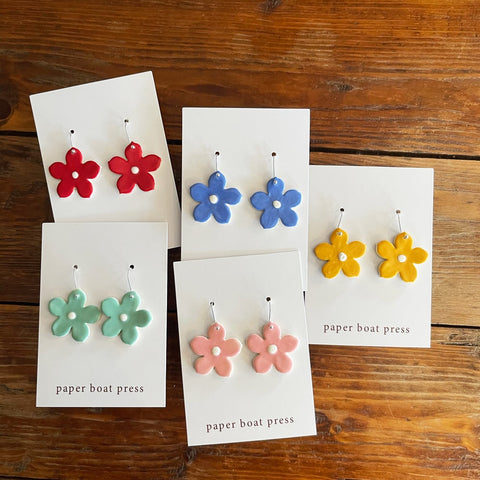 Large Daisy Coloured Earrings - Paper Boat Press