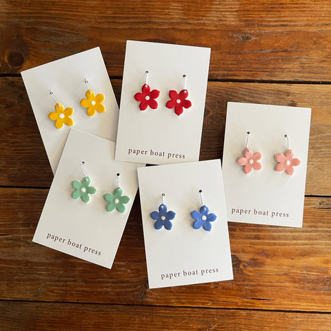 Small Daisy Coloured Earrings - Paper Boat Press