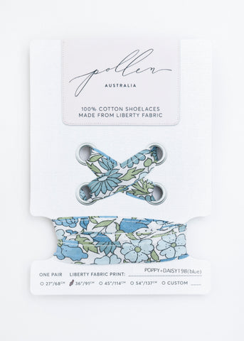 LIBERTY FABRIC SHOELACES // Made with Liberty Fabric - Poppy+Daisy B (blue)