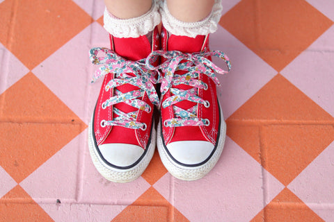 LIBERTY FABRIC SHOELACES // Made with Liberty Fabric - Betsy Ann E (pink)