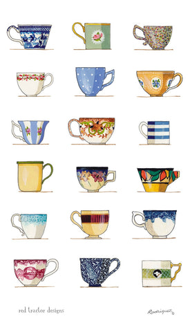 Linen Tea Towel - Teacups